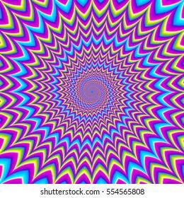 Iridescent background with spirals. Motion illusion.