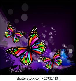 Iridescent butterflies on abstract dark background. Vector