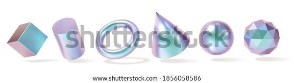 Iridescent Geometric Shapes set. Modern 3d hologram multicolor metal object, futuristic neon gradient design. Vector concept