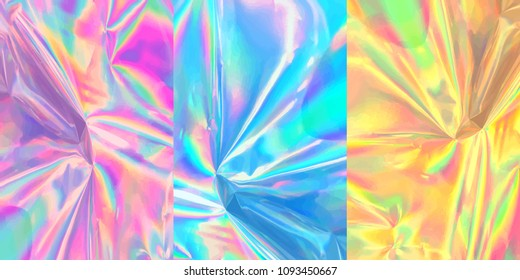 Iridescent holographic vector design of wrinkled foil. Glittering surface pack
