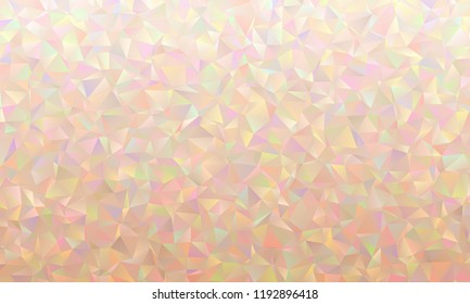 Iridescent Pink Low Poly Triangle Pattern Vector Background. Pastel Rainbow. Multicolored Shiny Crystal Facets Texture. Mother-of-pearl Opalescent Sparkling Facets.