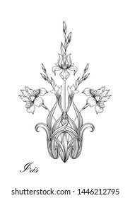 Iris flower, fleur-de-lis, flower-de-luce, flag. Element for design. Outline hand drawing vector illustration. In art nouveau style, vintage, old, retro style. In botanical style
