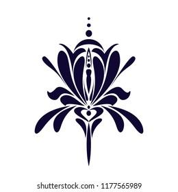 Iris flower icon. Single-color vector.