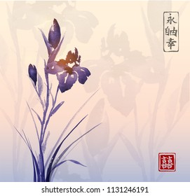 Iris flower and sunrise. Traditional oriental ink painting sumi-e, u-sin, go-hua. Contains hieroglyphs - eternity, freedom, happiness, double luck.