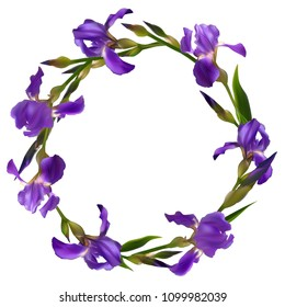 Iris. Flowers. Floral background. Border. Buds. Blue. Petals. Flower pattern. Wreath. Green leaves. The stems.