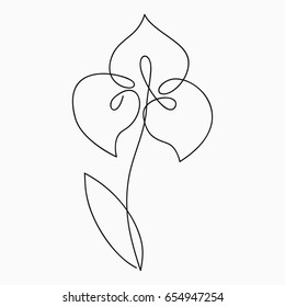 Iris one line drawing. Continuous line flower. Hand-drawn illustration for logo, emblem and design card, poster. Vector.