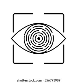 Iris recognition for biometric identification. Stock vector concept for computer authentication, data protection.