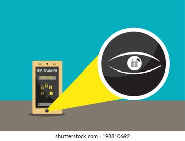Iris Scanner to unlock Phone. Conceptual Vector.