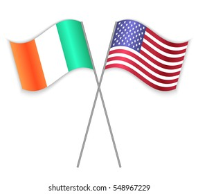 Irish and American crossed flags. Ireland combined with United States of America isolated on white. Language learning, international business or travel concept.