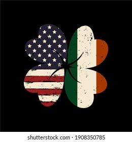 Irish and American Flag vector illustration