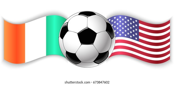 Irish and American wavy flags with football ball. Ireland combined with United States of America isolated on white. Football match or international sport competition concept.