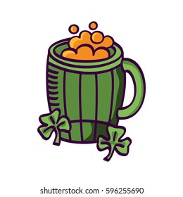 Irish beer. St. Patrick's day. Vector images for your business and design. For postcards, cartoons, games, wallpapers, linen and clothing
