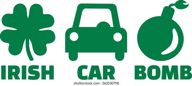 Irish car bomb with icons