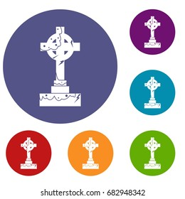 Irish celtic cross icons set in flat circle red, blue and green color for web