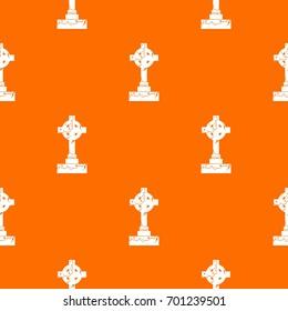 Irish celtic cross pattern repeat seamless in orange color for any design. Vector geometric illustration