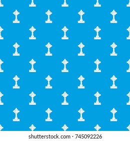 Irish celtic cross pattern repeat seamless in blue color for any design. Vector geometric illustration