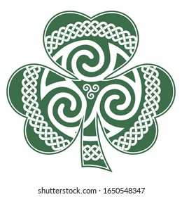 Irish Celtic design in vintage, retro style, Celtic-style clover. Irish symbol for the feast of St. Patrick, isolated on white, vector illustration