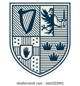 Irish Celtic design in vintage, retro style. Provinces of Ireland - Connacht, Leinster, Munster and Ulster, isolated on white, vector illustration