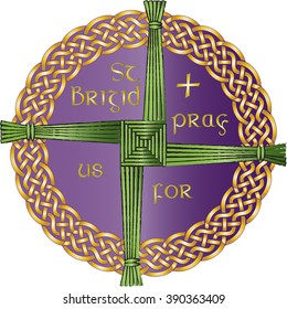 Irish celtic knot ornament with the cross of St Brigid, believed to protect against evil and fire. Color vector illustration.