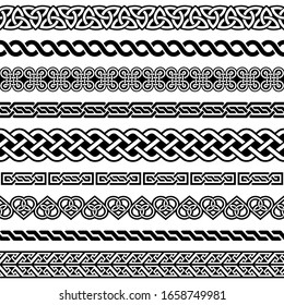 Irish Celtic vector semaless border pattern  set, braided frame designs for greeting cards, St Patrick's Day celebration. Retro Celtic collection of braided ornaments in black and white, traditional
