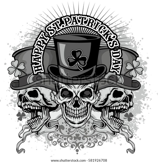 Irish coat of arms with skull and clover, grunge vintage design t shirts