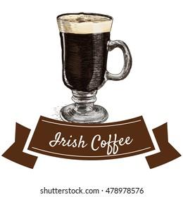 Irish coffee colorful illustration. Vector illustration of Irish coffee