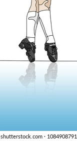 Irish Dancer in Hard Jig Shoes on Stage