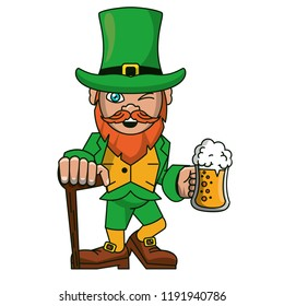 Irish elf with beer and walking stick cartoons