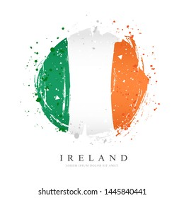 Irish flag in the form of a large circle. Vector illustration on white background. Brush strokes drawn by hand. Ireland