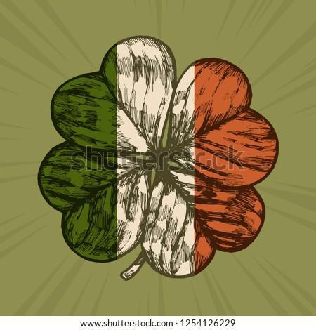 e661510accfd Irish flag shamrock - vintage etching style Patrick s day vector  illustration
