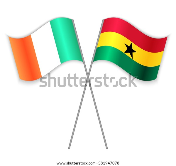 Irish and Ghanaian crossed flags. Ireland combined with Ghana isolated on white. Language learning, international business or travel concept.
