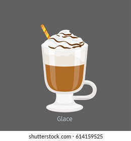 Irish glass mug with straw filled cold glace flat vector. Chilled invigorating drink with caffeine. Coffee with ice-ream poured chocolate syrup illustration for coffee house and cafe menus design