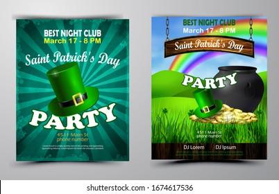Fête irlandaise Saint Patrick s Day. Affiche de fête, affiche de nuit