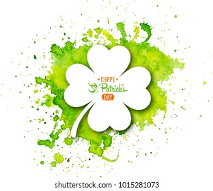 Irish holiday Saint Patrick's Day. White quatrefoil clover on abstract green waterolor background. Vector illustration with four-leaf clover for greeting card, poster, celebration banner