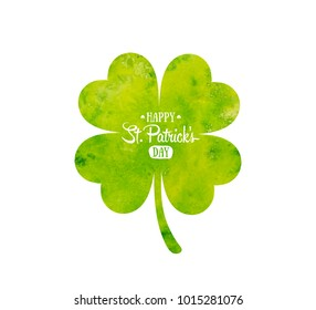 Irish holiday Saint Patrick's Day. Green watercolor quatrefoil clover. Vector illustration with four-leaf clover for greeting card, poster, celebration banner