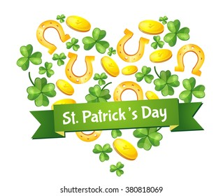 Irish holiday, St. Patrick's Day, treasures, luck. Logo, flyer design. Green, without a background, vector. Patrick Day