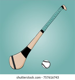 Irish hurl and sliotar in a doodle style