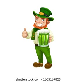 Irish leprechaun in green suit and hat showing ok sign isolated. Vector St. Patricks day symbol with mug of beer