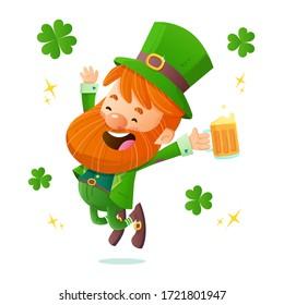 Irish Leprechaun jumping with joy