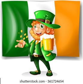 Irish man drinking beer illustration