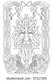 The Irish mythical Green man in vector path pattern