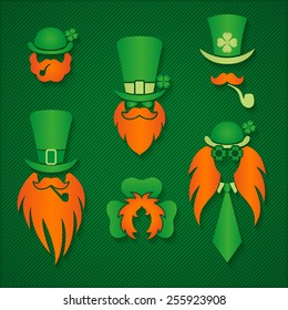 Irish people in hats leprechaun signs logos  St. Patrick Day vector illustration