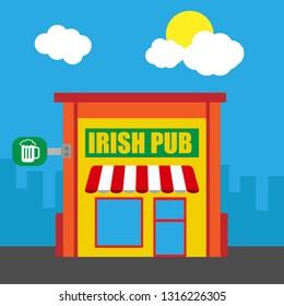 irish pub bulding.irish pub icon