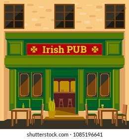 Irish pub exterior vector illustration. Flat design of facade. Beer house  building concept.