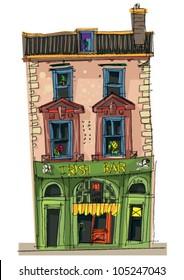 irish pup facade - cartoon