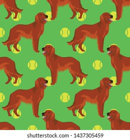 Irish red setter dog seamless pattern