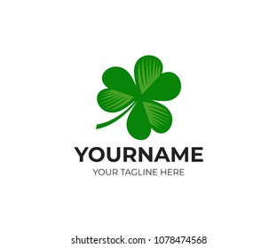 Irish shamrock and clover, logo template. Leaf, leaves and flora, vector design. Nature illustration
