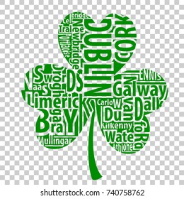 Irish shamrock vector art with the names of the biggest cities of Ireland for St.Patrick's Day.