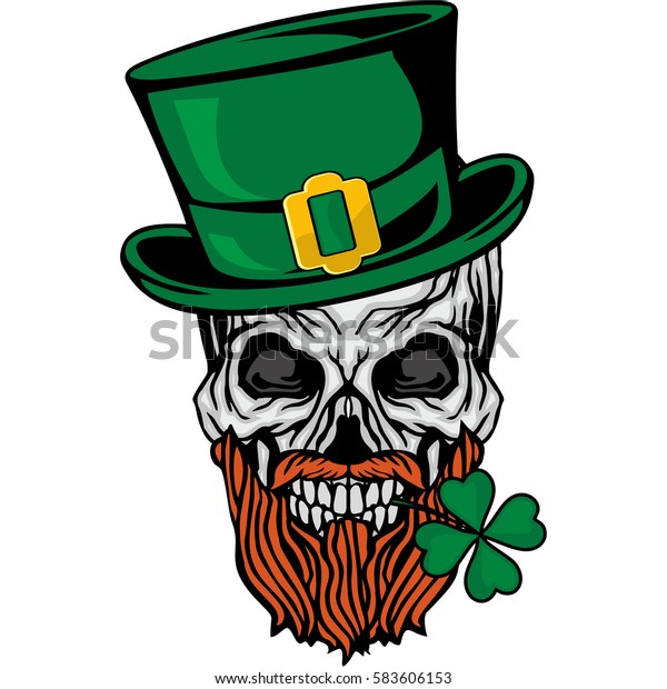 Irish Skull Clover Grunge Vintage Design Stock Vector ...