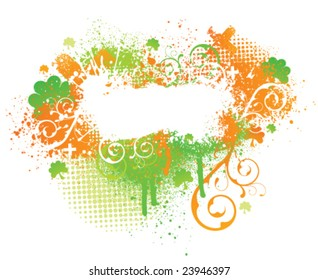 Irish themed floral grunge paint splatter background